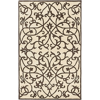 ECARPETGALLERY Abstract Art Casual Hand Tufted Brown Area Rug