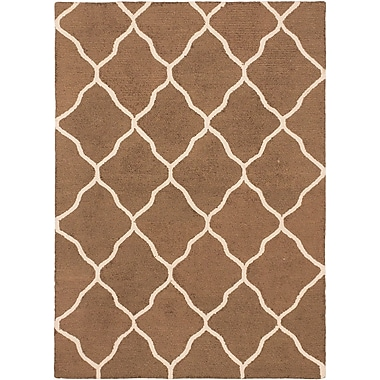 ECARPETGALLERY Trellis Transitional Hand Tufted Brown Area Rug