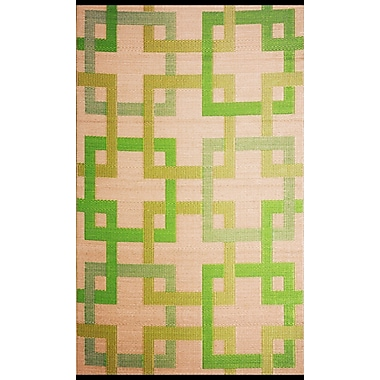 b.b.begonia Square Reversible Green/Beige Outdoor Area Rug; 5' x 8'