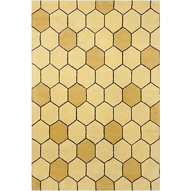 Chandra Stella Patterned Contemporary Wool Gold Area Rug; 5' x 7'6''