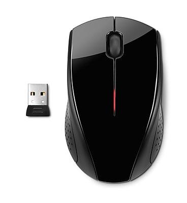 HP X3000 Nano Receiver Wireless Optical Mouse, Glossy Black