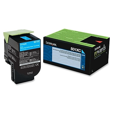 Lexmark 801XC Cyan Extra High Yield Return Program Toner Cartridge (80C1XC0.CA)