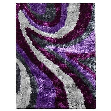 DonnieAnn Company Flash Shaggy Lilac Abstract Wave Area Rug; 5' x 7'