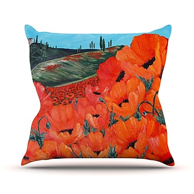 KESS InHouse Poppies Throw Pillow; 16'' H x 16'' W