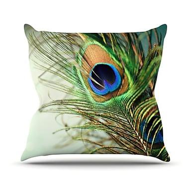 KESS InHouse Peacock Feather Throw Pillow; 16'' H x 16'' W