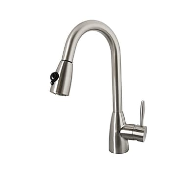 Virtu Neptune Single Handle Single Hole Kitchen Faucet w/ Pull-Down Spray; Brushed Nickel
