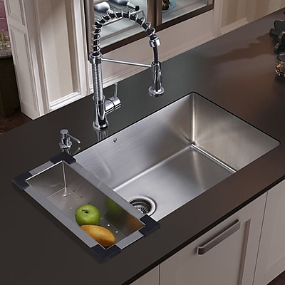Vigo 32'' x 19'' Undermount Kitchen Sink w/ Faucet, Grid, Strainer, Colander and Soap Dispenser