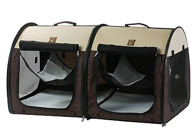 OneForPets Double Fabric Portable Pet Crate/Carrier; Cream