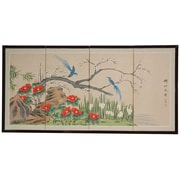 Oriental Furniture 24'' x 48'' Birds and Flowers 4 Panel Room Divider