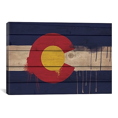 iCanvas Colorado Flag, Wood Planks w/ Paint Drips Graphic Art on Canvas; 18'' H x 26'' W x 1.5'' D