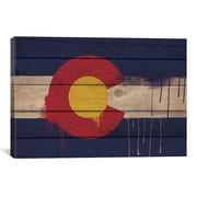 iCanvas Colorado Flag, Wood Planks w/ Paint Drips Graphic Art on Canvas; 12'' H x 18'' W x 1.5'' D