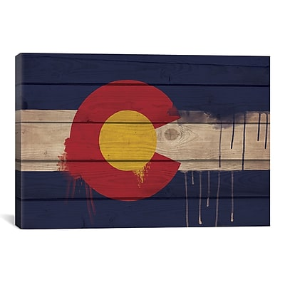 iCanvas Colorado Flag, Wood Planks w/ Paint Drips Graphic Art on Canvas; 26'' H x 40'' W x 1.5'' D