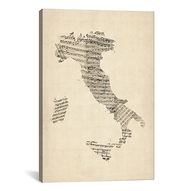 iCanvas 'Italy Sheet Music Map' by Michael Tompsett Graphic Art on Canvas; 60'' H x 40'' W x 1.5'' D