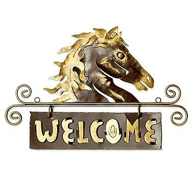 Novica 'Golden Horse Welcome' Sign