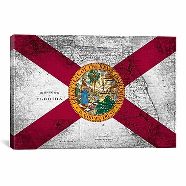 iCanvas Florida Flag, Grudge Vintage Map Graphic Art on Canvas; 18'' H x 26'' W x 1.5'' D