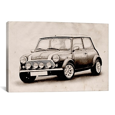 iCanvas 'Mini Cooper Sketch' by Michael Tompsett Graphic Art on Canvas; 18'' H x 26'' W x 1.5'' D