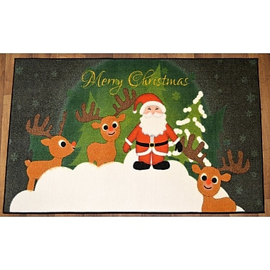 Ottomanson Santa Claus's Reindeers Christmas Mat