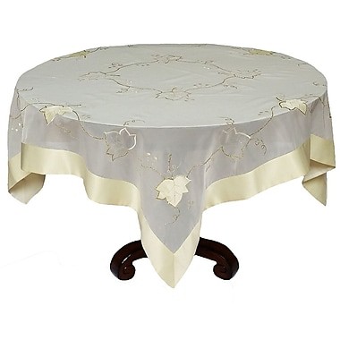 Xia Home Fashions Elegant Sheer w/ Stitching Leaf Table Topper