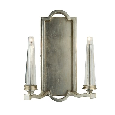 Artcraft Lighting Perceptions 2-Light Candle Wall Sconce; Silver Leaf