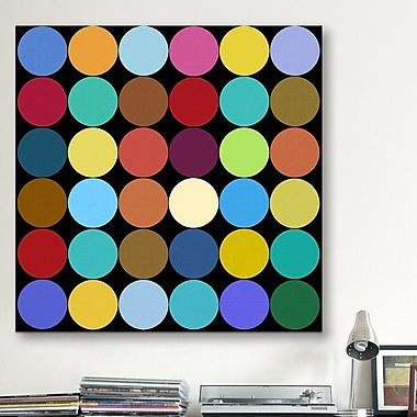 iCanvas Modern Dots Nine Colors Graphic Art on Canvas; 12'' H x 12'' W x 0.75'' D