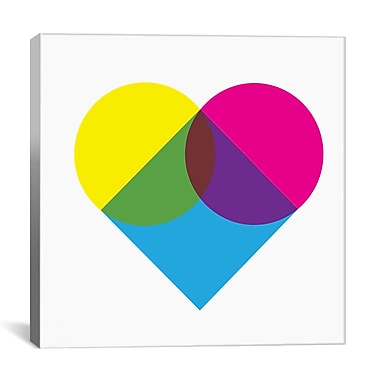 iCanvas Modern Fluorescent Heart Diagram Graphic Art on Canvas; 12'' H x 12'' W x 1.5'' D