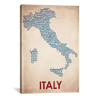 iCanvas American Flat Italy Graphic Art on Wrapped Canvas; 40'' H x 26'' W x 0.75'' D