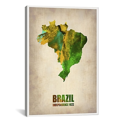 iCanvas Naxart Brazil Watercolor Map by Naxart Graphic Art on Wrapped Canvas