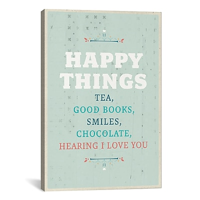 iCanvas American Flat Happy Things Textual Art on Wrapped Canvas; 26'' H x 18'' W x 0.75'' D
