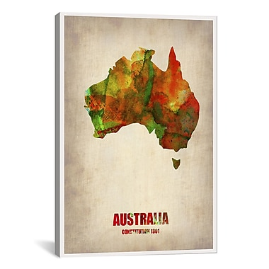iCanvas Naxart Australia Watercolor Map by Naxart Graphic Art on Wrapped Canvas