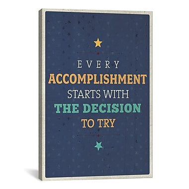 iCanvas American Flat Every Accomplishment Textual Art on Wrapped Canvas; 26'' H x 18'' W x 0.75'' D