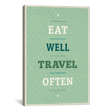 iCanvas American Flat Eat Travel Textual Art on Wrapped Canvas; 26'' H x 18'' W x 0.75'' D