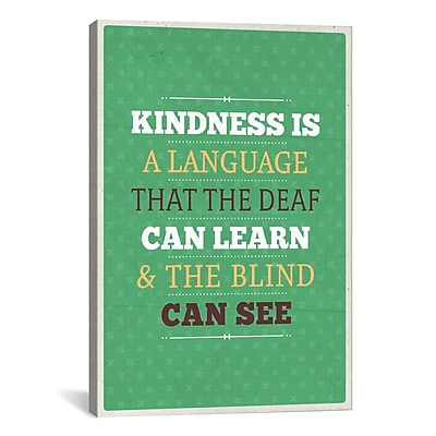 iCanvas American Flat Kindness Textual Art on Wrapped Canvas; 40'' H x 26'' W x 0.75'' D