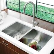 Vigo Alma 32 inch Undermount 50/50 Double Bowl 16 Gauge Stainless Steel Kitchen Sink; No