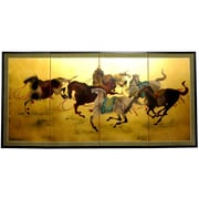 Oriental Furniture 36'' x 72'' Gold Leaf Riders In The Storm On 4 Panel Room Divider