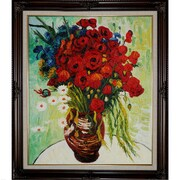 Wildon Home   Vase w/ Daisies and Poppies by Vincent Van Gogh Framed Painting