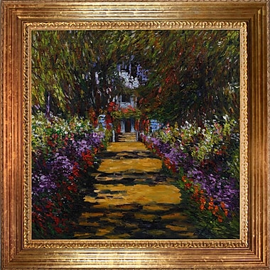 Wildon Home 'Garden Path at Giverny' by Claude Monet Framed Oil Painting Print