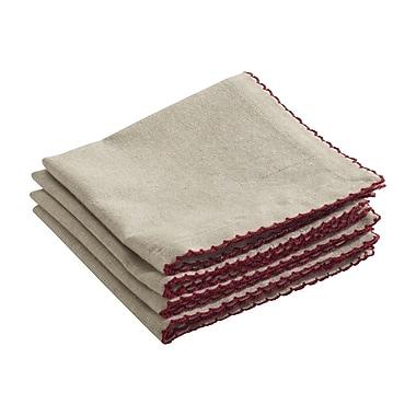 Saro Crochet Scalloped Design Napkin (Set of 4); Red