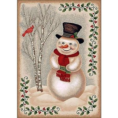 Milliken Winter Seasonl Snowman Beige Area Rug; Rectangle 2'8'' x 3'10''