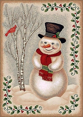 Milliken Winter Seasonl Snowman Beige Area Rug; Rectangle 3'10'' x 5'4''
