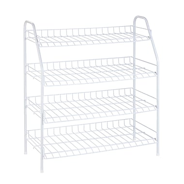 Honey Can Do 4-Tier Wire Shoe Shelf, White