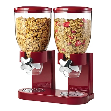 Honey Can Do Double Cereal Dispenser with Portion Control, Red and Chrome (KCH-06125)