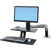 "Ergotron® 24-391-026 WorkFit-A with Suspended Keyboard, HD, 5"" and WS, Polished Aluminum"