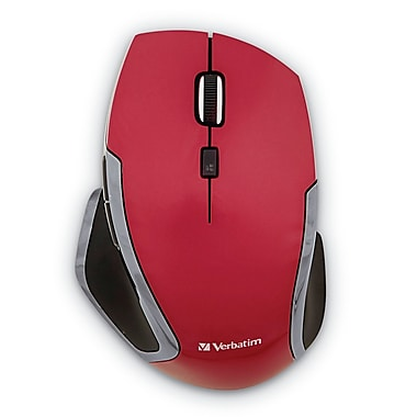 Verbatim Wireless Notebook 6-Button Deluxe Blue LED Mouse, Red