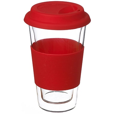 Grosche Glassen Double Walled Travel Mug, Red, 350ml