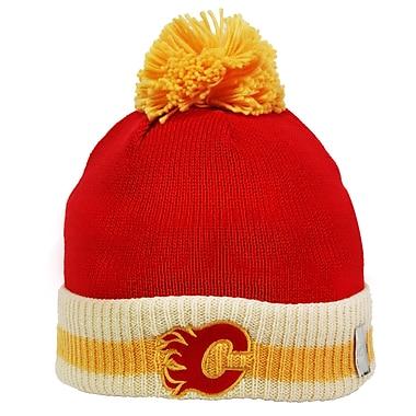 Reebok CCM -Tuque tricotée à pompon et à rebord à rayures, Flames de Calgary