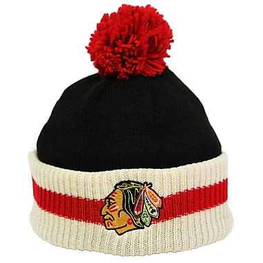 Reebok CCM Stripe Cuffed Pom Knit Toque, Chicago Blackhawks