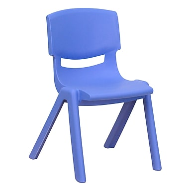 Flash Furniture Plastic Stackable School Chair with 12'' Seat Height, Blue (1YUYCX001BLUE)