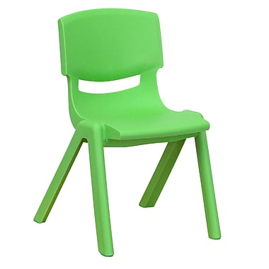Flash Furniture Plastic Stackable School Chair with 12'' Seat Height, Green (1YUYCX001GREEN)