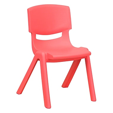 Flash Furniture Plastic Stackable School Chair, 12'' Seat Height, Red (1YUYCX001RED)