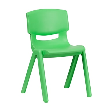 Flash Furniture Plastic Stackable School Chair, Green with 13.25'' Seat Height (1YUYCX004GREEN)
